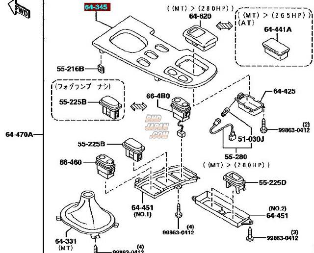 Mazda OEM MT Switch Panel FD3S